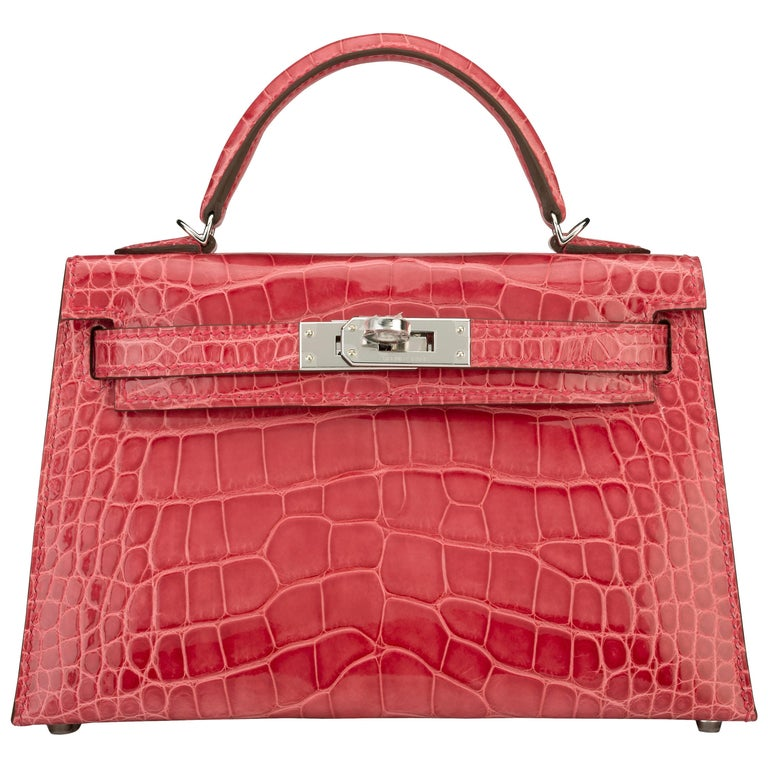 b61eebca11f6 Hermes Kelly 20cm Model II Rose Extreme Alligator bag with Palladium  hardware For Sale
