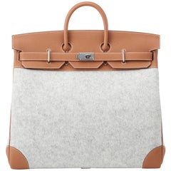 Hermes Birkin HAC 50cm TODOO in Gold Togo leather and Gris Clair Wool Felt