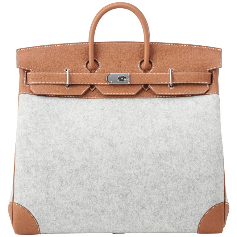e2053d3c9e5e Hermes Birkin HAC 50cm TODOO in Gold Togo leather and Gris Clair Wool Felt  For Sale