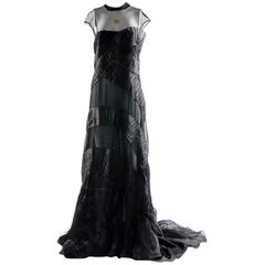 Alberta Ferretti Black Silk and Voile Long Dress