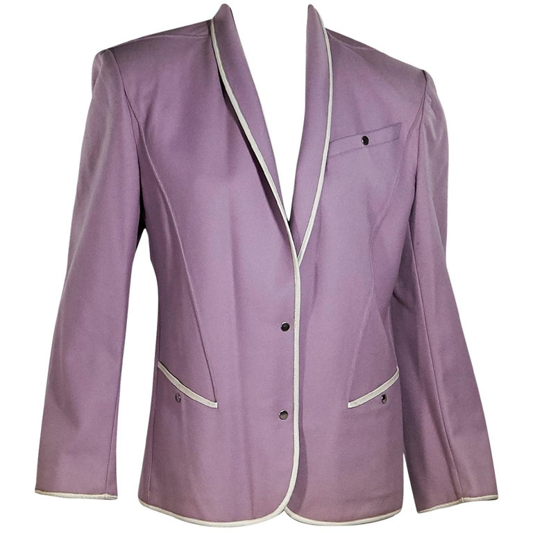 Purple Vintage Thierry Mugler Wool Jacket For Sale