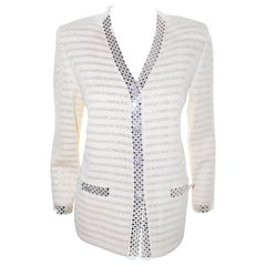 St. John  Ivory Knit With Silver Tone Sequin Striped V Neck