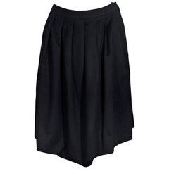 Black Vintage Hermes Wool Pleated Skirt