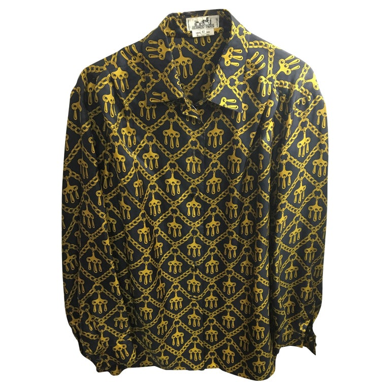 Vintage Hermes Silk Blouse Size 42 French For Sale