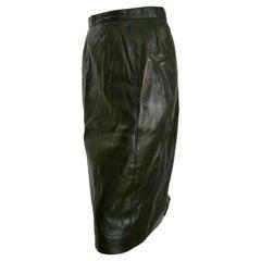"CHANEL ""New"" Black Lambskin Leather, Buttons, Silk lined skirt - Unworn"