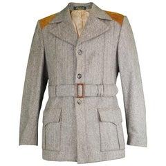 Glenhusky Pure Virgin Wool Herringbone Tweed & Suede Mens Vintage Norfolk Jacket