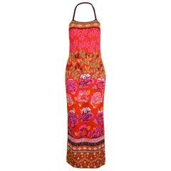 Kenzo Vintage Red Floral Intarsia Jacquard Knit Halterneck Maxi Dress, 1990s