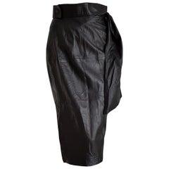 "Roberto FABRIS Paris ""New"" Black Lambskin Skirt, Belt Foulard Falling - Unworn"