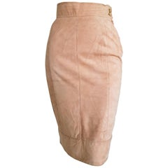"FERRÉ ""New"" Couture Beige Pink Suede Skirt - Unworn"