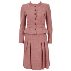 2001 Chanel Runway Blush-Pink Cashmere Wooden Buttons Pleated Skirt Jacket Suit