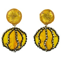Francoise Montague Clip Earrings Resin Dangle Yellow Flower