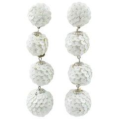 White Sequin Disco Balls Dangling Chandelier Clip on Earrings