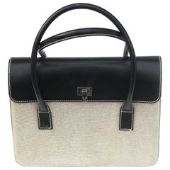 Lambertson Truex Two Tone Leather/Linen Handbag-Made in Italy