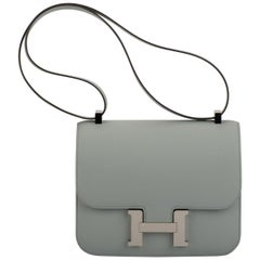New in Box Hermes Blue Glacier Constance Epsom Bag