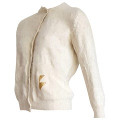 "Thierry MUGLER ""New"" Angora Cream Color Golden Buttons Sweater, Unworn"