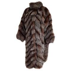 """Carlo TIVIOLI """"New"""" Haute Couture Russian Arctic Wild Silver Fox Fur Coat-Unworn"""