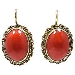 Vintage Blood Coral -14kt Gold Pierced Earrings
