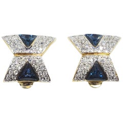 Vintage Signed Vogue Bijoux Blue & Clear Crystals Earrings