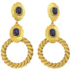 Vintage Signed Chanel Season 25 Gripoix Hoop Drop Earrings