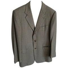 "HERMES ""New"" Men's Pied de Poule Fabric Wool Jacket"