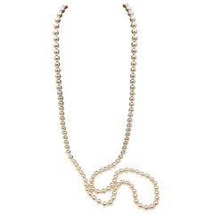 Long Glass Pearl Knotted Rope Necklace