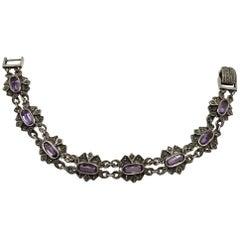 Vintage Sterling Amethyst & Marcasite Bracelet
