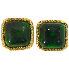 Vintage Signed Chanel 23 Emerald Gripoix Glass Earrings