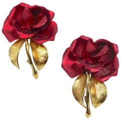 Vintage Signed Cerrito Red Enamel Gold Tone Rose Brooches