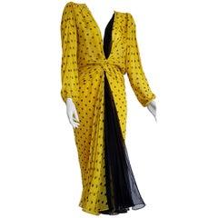"VALENTINO ""New"" Haute Couture Yellow, Black Polka Dot Black Chiffon Gown- Unworn"