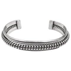 Vintage Sterling Silver Ribbed Cuff Bracelet