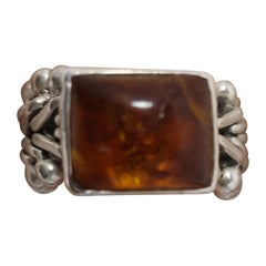 Vintage Amber & Sterling Flexible Ring, Size 7.5