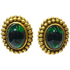 Vintage Signed Yves St. Laurent Green Gripoix Glass Earrings