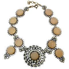 Sand Color Discs Bib Necklace