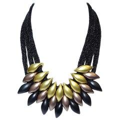 3-Strand Gold, Black, Copper Bib Necklace