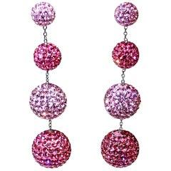 Light & Dark Pierced Pink Crystal Dangling Earrings
