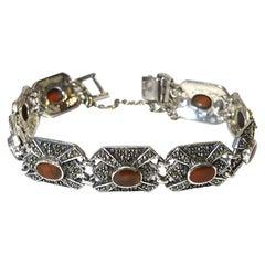 Vintage Sterling Silver Carnelian And Marcasite Bracelet