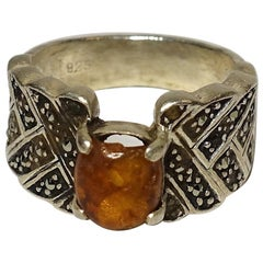 Vintage Sterling Amber And Marcasite Ring Size 7.