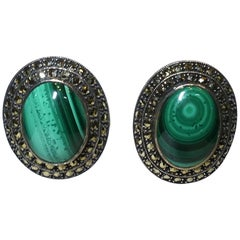 Vintage Sterling Malachite And Marcasite Pierced Earrings