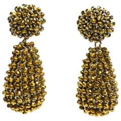 Vintage Long Crystal Dangling Pierced Earrings