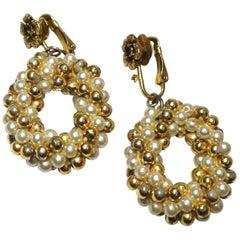 Vintage Faux Pearl Dangling Earrings