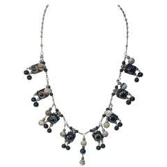 Vintage Banded Agate Drops Necklace