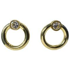 Vintage Pierced Hoop Crystal Earrings