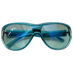 1990s Versace Blue Greek Key Shield Sunglasses