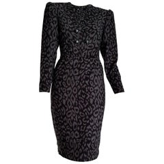 "VALENTINO ""New"" Black and Gray Leopard Print Cashmere Dress - Unworn"