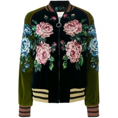 Gucci Sequin Embroidered Velour Bomber Jacket