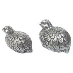 Gucci Italy Silver Metal Quail Salt & Pepper Shakers circa 1970s