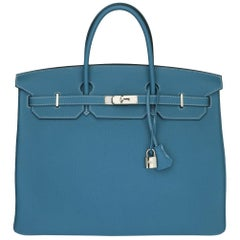 Hermès Birkin 40 Bag Blue Jean Togo Leather with Palladium Hardware Stamp R 2014