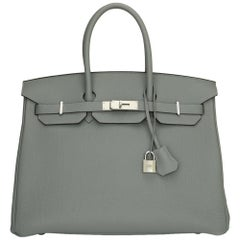 Hermès Birkin 35cm Bag Gris Mouette/Bleu Agate Togo w/Palladium Hardware 2016