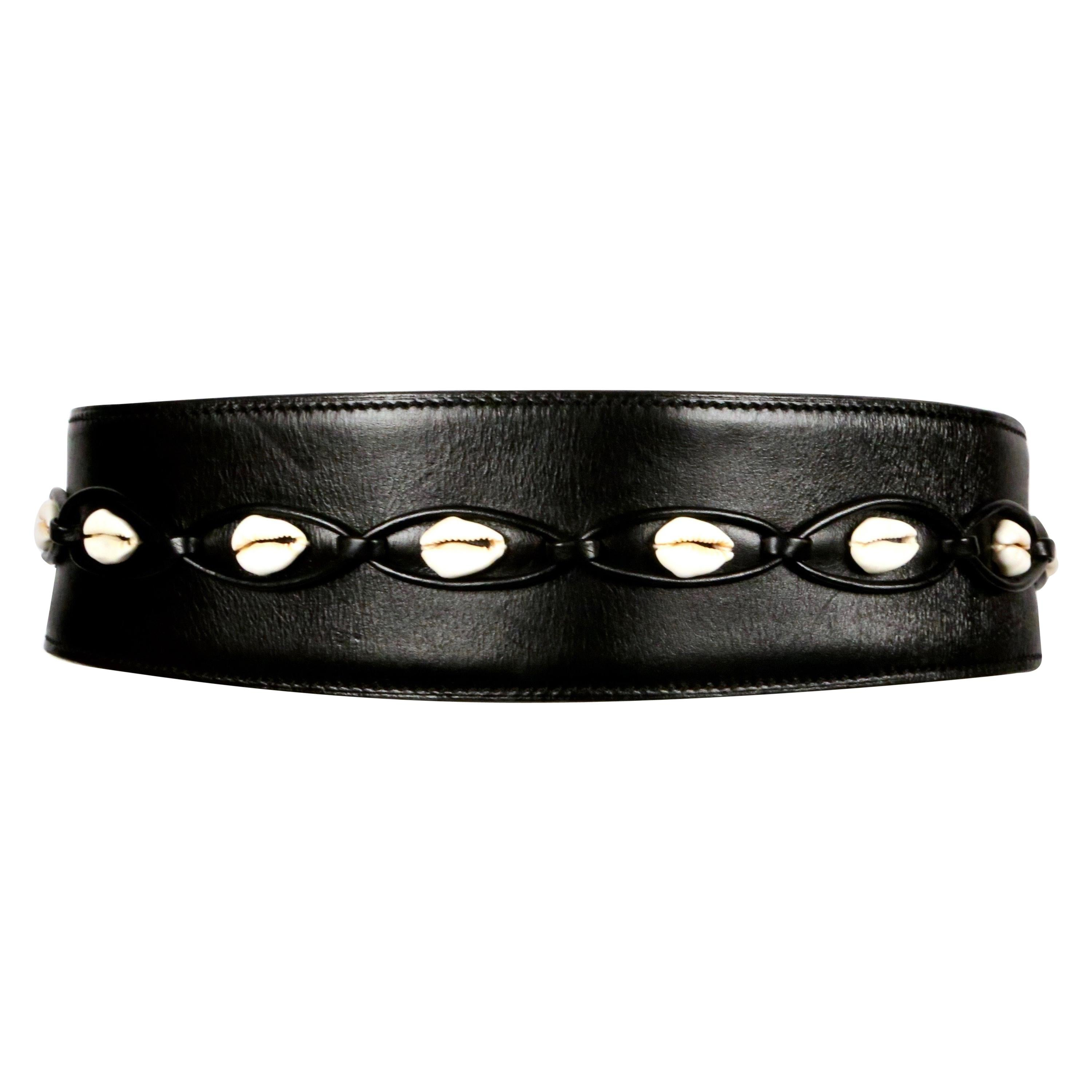 1990 AZZEDINE ALAIA black leather runway belt with cowrie shells