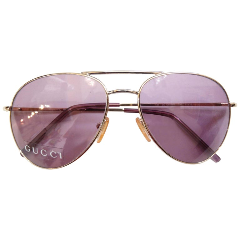 Gucci 1990s Purple Lens Aviators